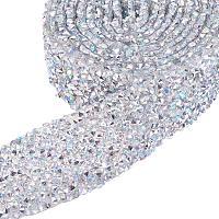 BENECREAT 2 Yard 3cm Width Crystal Rhinestone Ribbon Hot Fix Glitter Dress Diamond Ribbon Mesh Wrap Roll with 3mm Rhinestones for Trimming Cloth Bags Decoration, Clear AB