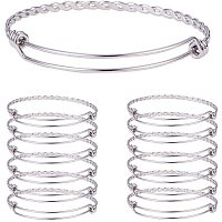 "PandaHall Elite 10pcs Stainless Steel Adjustable Bangle Bracelet Wire Blank Bracelet for Women DIY Jewelry Making -2.4"""