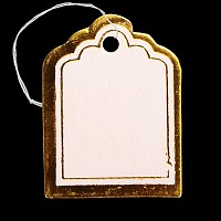 ARRICRAFT 500Pcs Rectangle Blank Jewelry Display Paper Price Tags with Cotton Cord Size 23x17.5x0.2mm Goldenrod