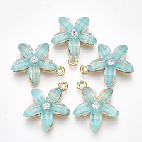 Nbeads  Alloy Pendants, with Resin and Rhinestone, Flower, Crystal, Light Gold, MediumTurquoise, 21.5x18.5x5mm, Hole: 1.5mm