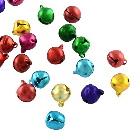 NBEADS 1000Pcs Aluminum Bell Charms, Mixed Color, 9x8x7mm, Hole: 1.5mm