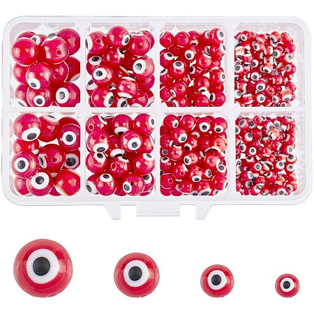 NBEADS 1 Box (About 390pcs) 4 Sizes Red Handmade Round Evil Eye Lampwork Beads Charms Spacer Beads for Bracelets Necklace Jewelry Making