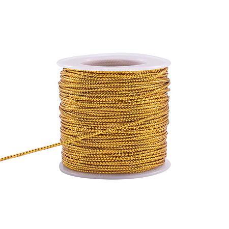 PandaHall Elite 50 Yards 2mm Metallic Cord Gold Braided Metallic Beading Cords Metallic Tinsel Cord Tinsel String for Gift Wrap Ribbon Craft Making