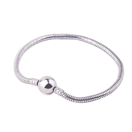 PandaHall Elite Length 19cm Charm Bracelet For Women Stainless Steel Snake Chain European Style Bracelets for Jewelry Making