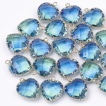 K9 Glass Pendants, Imitation Tourmaline, with Golden Tone Brass Findings, Faceted, Heart, DeepSkyBlue, 20x16.5x8mm, Hole: 2mm
