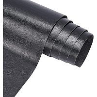 """BENECREAT PU Leather (13""""x 55"""") Black Leather Roll Solid Color Synthetic Faux Leather for Dressing Sewing Crafting - Black, 0.4mm Thick"""
