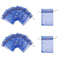 PandaHall Elite 120pcs Organza Gift Bags Moon Star Organza Drawstring Candy Pouch Bag for Wedding Party Baby Shower Favor Bags(3.5x4.5, Blue)