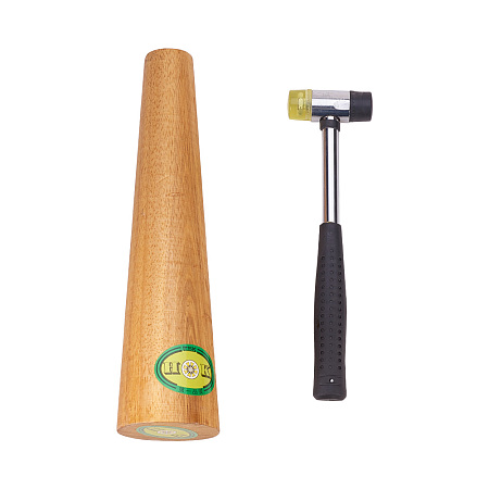 PandaHall Elite Jewelry Tool sets with Wooden Bracelet Sizing Bangle Mandrel and Steel Handle Installable Two Way Rubber Hammers