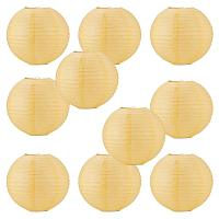 """BENECREAT 18 Pack Yellow Paper Lanterns Round Paper Lamps 10"""" for Birthday Wedding Party Baby Shower Decorations Crafts, Table and Wall Decoration"""