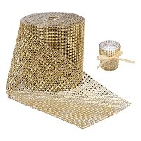 "BENECREAT 10 Yards Diamond Sparkling Rhinestone Mesh Ribbon Roll for Arts & Crafts, Event Decorations, Wedding Cake, Birthdays, 4.75"", 24 Row (Gold)"