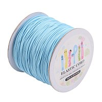ARRICRAFT 1 Roll(100m, about 100 Yards) LightSkyBlue Round Elastic Cord Beading Crafting Stretch String, 1mm