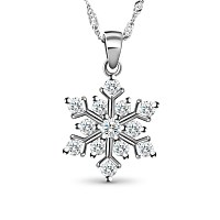 SWEETIEE Glittering 925 Sterling Silver Necklace with Micro Pave AAA Zircon Snowflake Pendant