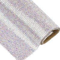 """BENECREAT 9.5"""" x 15.5"""" Crystal AB Round Crystal Epoxy Rhinestone Sheet Hotfix Rhinestone Sheet Banding Bridal Rhinestone for Dresses Shoes Crafts"""