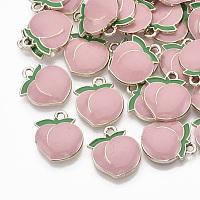 Nbeads  Alloy Enamel Pendants, Light Gold, Peach, Pink, 17.5x15x3mm, Hole: 1.8mm
