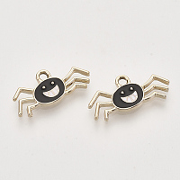 Light Gold Plated Alloy Pendants, with Enamel, Spider, Black, 10.5x22x2mm, Hole: 2mm