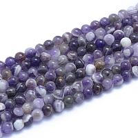 Natural Amethyst Beads Strands, Round, 6~6.5mm, Hole: 0.8mm; about 66pcs/strand, 15.35 inches(39cm)