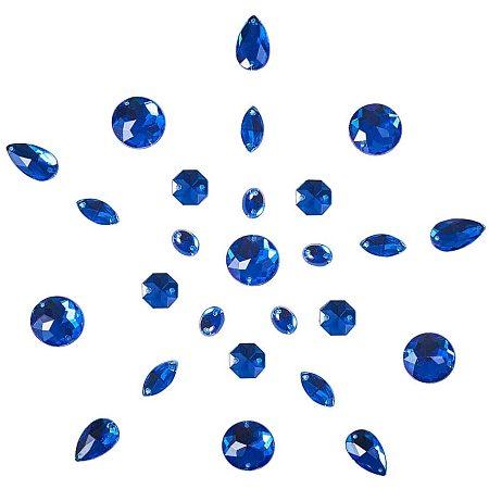 PandaHall Elite 100 pcs 5 Shapes Acrylic Sew on Rhinestones, Blue Half Round/Oval/Drop/Horse Eye Faceted Flatback Crystal Buttons Gems for Clothing Wedding Dress Decoration
