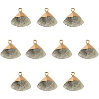 NBEADS 10 Pcs Electroplate Natural Labradorite Pendants, Dyed Triangle Faceted Labradorite Stone Pendants with Golden Brass Findings for DIY Earring Necklace Jewelry Making, Grey