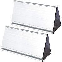 NBEADS 2 Sets Metal Name Plate Holder, 8.4x20cm Double Sided Triangle Aluminum Alloy Silver Name Display Stand for Office Business Desk Sign Plaque Making