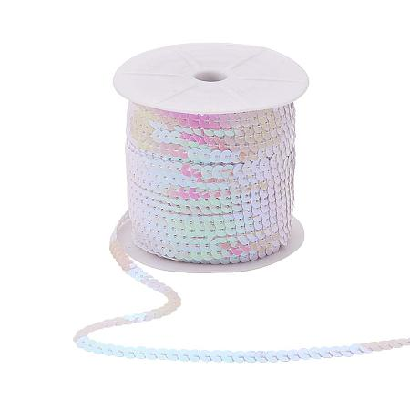ARRICRAFT 6mm Wide 100yards AB-Color Flat Spangle Paillette Sequin Trim Spool String Beads for Dress Embellish Headband Costume, White