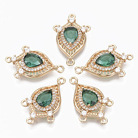 Arricraft Glass Chandelier Component Links, with Brass Micro Pave Cubic Zirconia, Faceted, Horse Eye, Light Gold, Light Sea Green, 25x16x5mm, Hole: 1.2mm