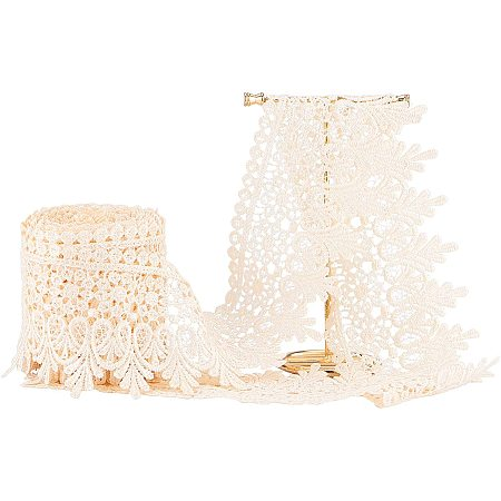 PandaHall Elite 8.5CM Width Antique White Lace Ribbon Inelastic Embroidery Lace Trim,Curtain Tablecloth Slipcover Bridal DIY Clothing/Accessories