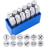 """BENECREAT 12 Packs (6mm 1/4"""") Matte Design Metal Stamp Punches with Tool Case for Jewelry Leather Wood Stamping, Weather Theme"""