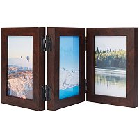 BENECREAT 8.2x6.4 Wood Hinged Picture Frames Brown 3 Vertical Openings Frames with Glass Front for Bedroom, Living Room and Office Desktop Decoration Display