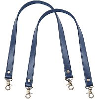 PandaHall Elite 2 pcs 23 Inch Leather Replacement Handles Purses Straps Handbags Shoulder Bag Strap with Antique Bronze Swivel Lobster Buckles, Midnight Blue