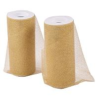 BENECREAT 2 Rolls Glitter Tulle Gold Tulle Fabric Rolls 6 inch x 25 Yards(75 feet) for Decoration Bows, Craft Making, Wedding Party Ribbon - 50 Yards in Total