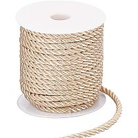PandaHall Elite 5mm Twisted Cord Trim, 3-Ply Polyester Cord Shiny Viscose Cording Decorative Twine Cord Rope String for Home Décor, Embellish Costumes, Christmas Bag Drawstrings (59 Feet, Navajo White)