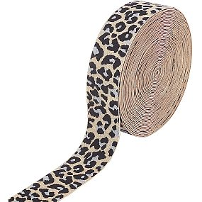 BENECREAT 10 Yards 37mm Wide Leopard Elastic Band PeachPuff Flat Elastic Band Leopard Print Headband for Garment Sewing Hair Band