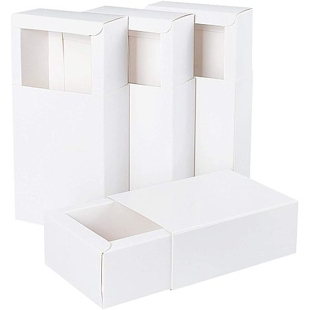BENECREAT 20 Pack Kraft Paper Drawer Box 4.5x3x1.7 Festival Gift Wrapping Boxes Soap Jewelry Candy Weeding Party Favors Gift Packaging Boxes, White