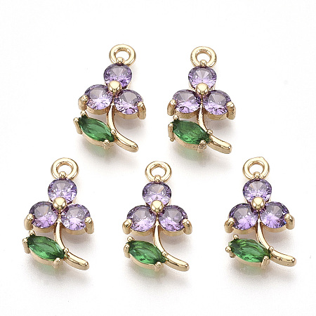 NBEADS Transparent Glass Pendants, with Golden Tone Brass Findings, Faceted, Flower, Violet, 17x10x3.5mm, Hole: 1.6mm