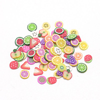 ARRICRAFT Handmade Polymer Clay Cabochons, No Hole, Fruit, Mixed Color, 4~6x4~6x0.3~0.8mm
