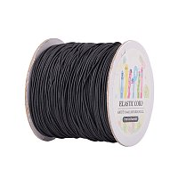 ARRICRAFT 1 Roll(100m, about 100 Yards) Black Round Elastic Cord Beading Crafting Stretch String, 1mm