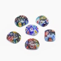 NBEADS Handmade Millefiori Glass Beads, Rectangle, Mixed Color, 15~17x20~22x5~7mm, Hole: 1mm