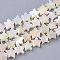 ARRICRAFT Freshwater Shell Beads Strands, AB Color Plated, Dyed, Star, Creamy White, 8~9x9x2~3mm, Hole: 0.8mm, about 55~59pcs/Strand, 15.89 inches(40.36cm)