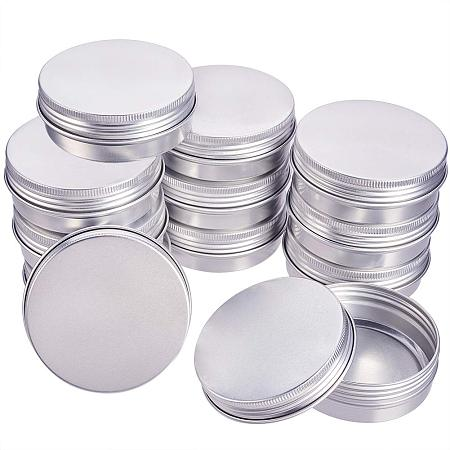 BENECREAT 14 Pack 2 OZ Tin Cans Screw Top Round Aluminum Cans Screw Lid Containers - Great for Store Spices, Candies, Tea or Gift Giving (Platinum)