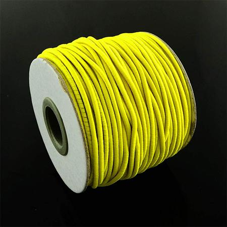 NBEADS Round Elastic Cord 40m/roll, with Nylon Outside and Rubber Inside, for Jewelry Making Bracelet Beading Thread, Gold, 2mm;