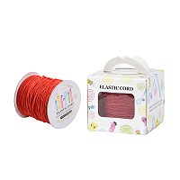 ARRICRAFT 1 Roll(100m, about 100 Yards) Red Round Elastic Cord Beading Crafting Stretch String, 1mm