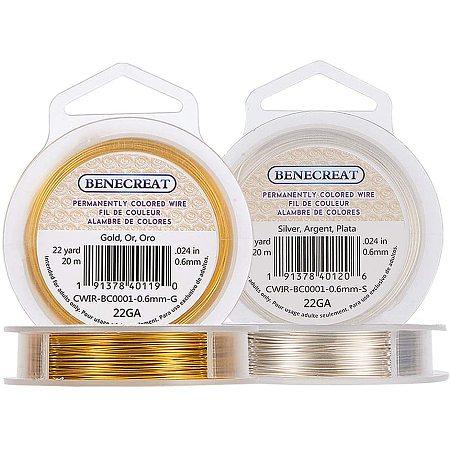 BENECREAT 2 Rolls 22-Gauge Tarnish Resistant Silver/Gold Coil Wire, 132-Feet/44-Yard in Total