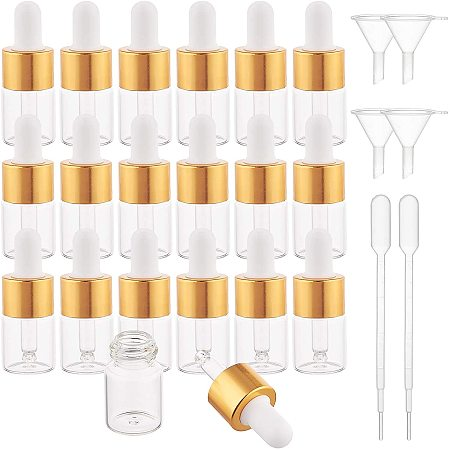BENECREAT 30 Pack 5ml Clear Glass Dropper Bottle Eye Essential Oil Bottles with Golden Caps, 4PCS Funnel Hopper and 2PCS Pipettes for Essential Oil Perfumes