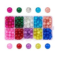 ARRICRAFT 1 Box (about 100pcs) 10 Color Handcrafted Crackle Lampwork Glass Round Beads Assortment 10mm Lot for Jewelry Making