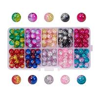 ARRICRAFT 1 Box (about 1000pcs) 10 Color Handcrafted Crackle Lampwork Glass Round Beads Assortment 4mm Lot for Jewelry Making