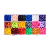 ARRICRAFT 1 Box(About 3500pcs) 18 Random Color 5mm Tube Melty Beads PE DIY Fuse Beads Refills Hama Beads for Kids Craft Making - Mixed Color