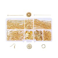 NBEADS Jewelry Findings Set Jewelry Making Kit Jewelry Findings Starter Kit with Jump Rings, Earring Hooks, Eye Pins, Head Pins, Spacer Beads Caps for Jewelry Making