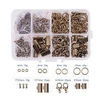 PandaHall Elite Jewelry Basics Class Kit Antique Bronze Lobster Clasp Jump Rings Alloy Drop End Pieces Ribbon Ends Mix 8 Style in In A Box