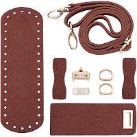 PandaHall Elite DIY PU Leather Bag Knitting Set, Leather Bag Bottom/Shoulder Strap/Bag Twist Lock/Flap Cover/Bag Buckles, Brown(7 Kinds of Accessories)