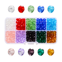 ARRICRAFT Transparent Glass Beads, Faceted, Rondelle, Mixed Color, 8x6mm, Hole: 1.4mm, about 300pcs/box